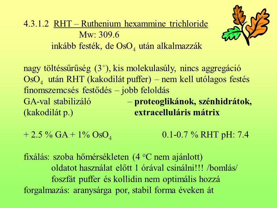 4.3.1.2 RHT – Ruthenium hexammine trichloride Mw: 309.6 inkább festék, de OsO 4 után alkalmazzák nagy töltéssűrűség (3 + ), kis molekulasúly, nincs ag