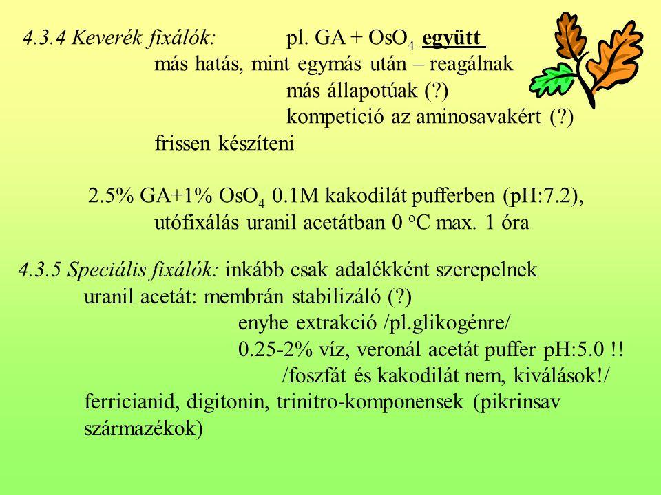 4.3.4 Keverék fixálók: pl. GA + OsO 4 együtt más hatás, mint egymás után – reagálnak más állapotúak (?) kompetició az aminosavakért (?) frissen készít