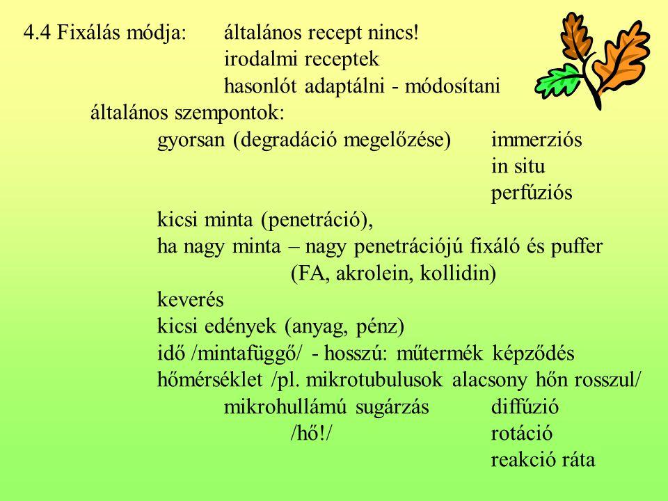 4.4 Fixálás módja:általános recept nincs! irodalmi receptek hasonlót adaptálni - módosítani általános szempontok: gyorsan (degradáció megelőzése)immer