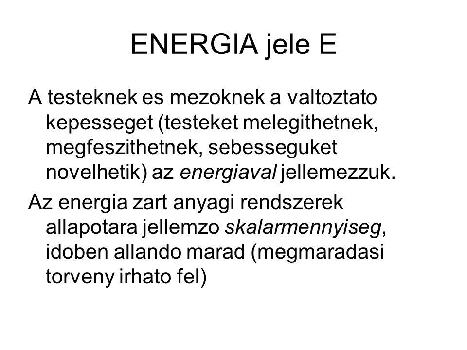 ENERGIA jele E A testeknek es mezoknek a valtoztato kepesseget (testeket melegithetnek, megfeszithetnek, sebesseguket novelhetik) az energiaval jellem