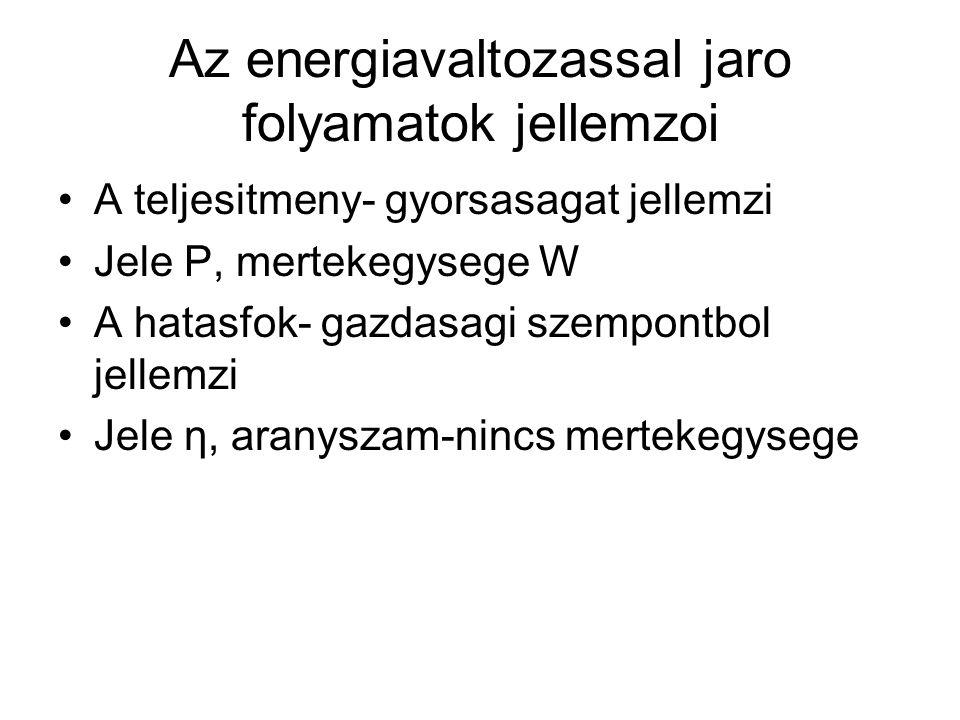 Az energiavaltozassal jaro folyamatok jellemzoi •A teljesitmeny- gyorsasagat jellemzi •Jele P, mertekegysege W •A hatasfok- gazdasagi szempontbol jell