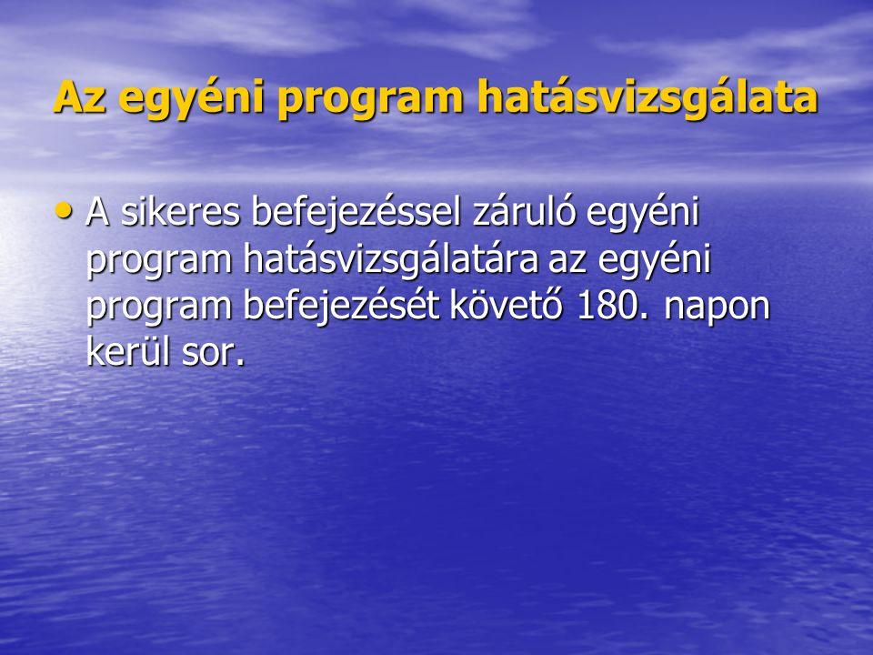 Az egyéni program hatásvizsgálata • A sikeres befejezéssel záruló egyéni program hatásvizsgálatára az egyéni program befejezését követő 180.