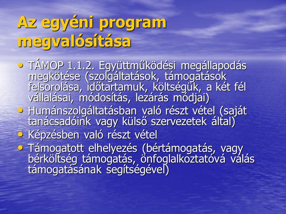Az egyéni program megvalósítása • TÁMOP 1.1.2.
