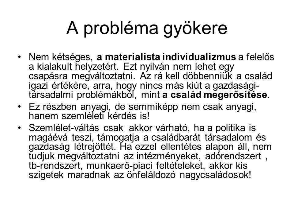 A probléma gyökere •Nem kétséges, a materialista individualizmus a felelős a kialakult helyzetért. Ezt nyilván nem lehet egy csapásra megváltoztatni.