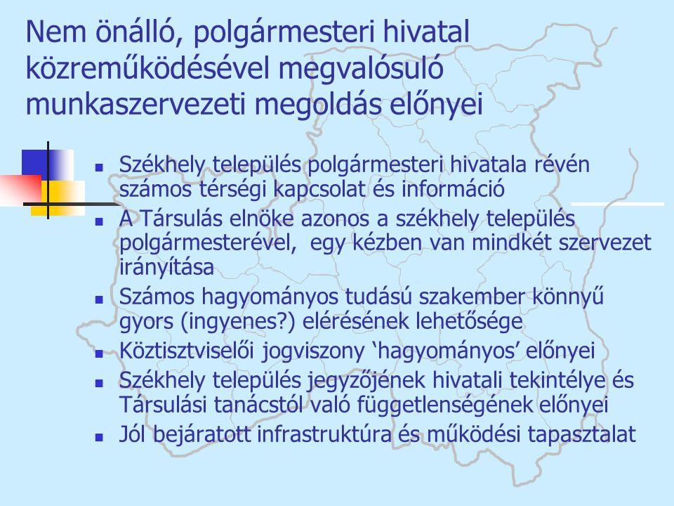 Nem önálló, polgármesteri hivatal közreműködésével megvalósuló munkaszervezeti megoldás előnyei  Székhely település polgármesteri hivatala révén szám