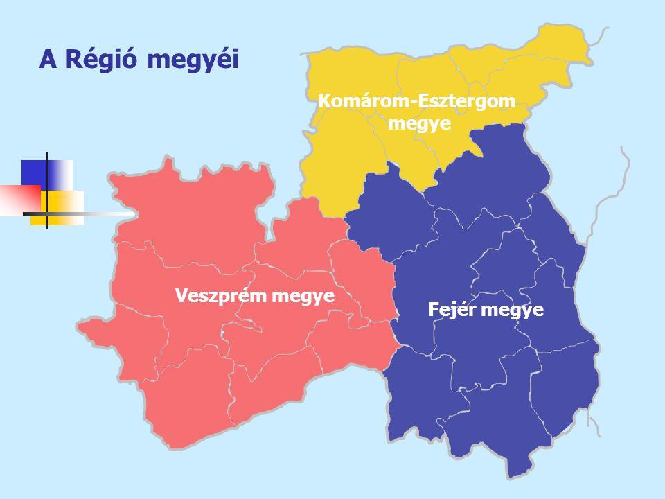 Megye, régió Népesség Foglal- kozta- tottak Munka- nélküli- ek Gazda- ságilag aktívak Gazda- ságilag inaktí- vak Aktivi- tási arány Foglal- koztatá- si arány Munka- nélküli- ségi ráta száma, 1000 fő az előző évi %- ában 1000 főszázalék Fejér429100,2174,411,6186,0140,257,053,56,2 Komárom-E.316100,0134,78,6143,398,659,255,76,0 Veszprém36799,7148,47,3155,7123,155,853,24,7 Közép-Dunántúl1 112100,0457,527,6485,1361,957,354,05,7 ORSZÁG ÖSSZ.10 09699,83 909,2263,34 172,53 548,254,050,66,3 A KDR a számok tükrében… Megye, régió Az összes gazdasági szervezet TársasEgyéni Nonprofit szervezet 1000 lakosra jutó vállalkozá s száma a január 1- jei %-ában vállalkozás aránya, % Fejér36 050106,239,153,06,377 Komárom-Esztergom28 262106,538,252,87,281 Veszprém34 198106,230,957,49,582 Közép-Dunántúl98 510106,336,054,57,780 ORSZÁG ÖSSZESEN960 321107,443,347,57,686 Forrás: Társadalmi-gazdasági helyzetkép Veszprém megyéről 2004.