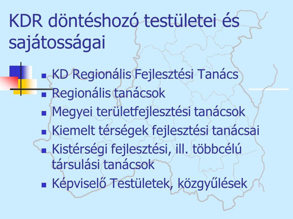  KD Regionális Fejlesztési Tanács  Regionális tanácsok  Megyei területfejlesztési tanácsok  Kiemelt térségek fejlesztési tanácsai  Kistérségi fej
