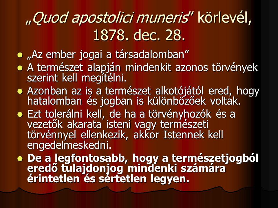 """""""Quod apostolici muneris körlevél, 1878. dec. 28."""