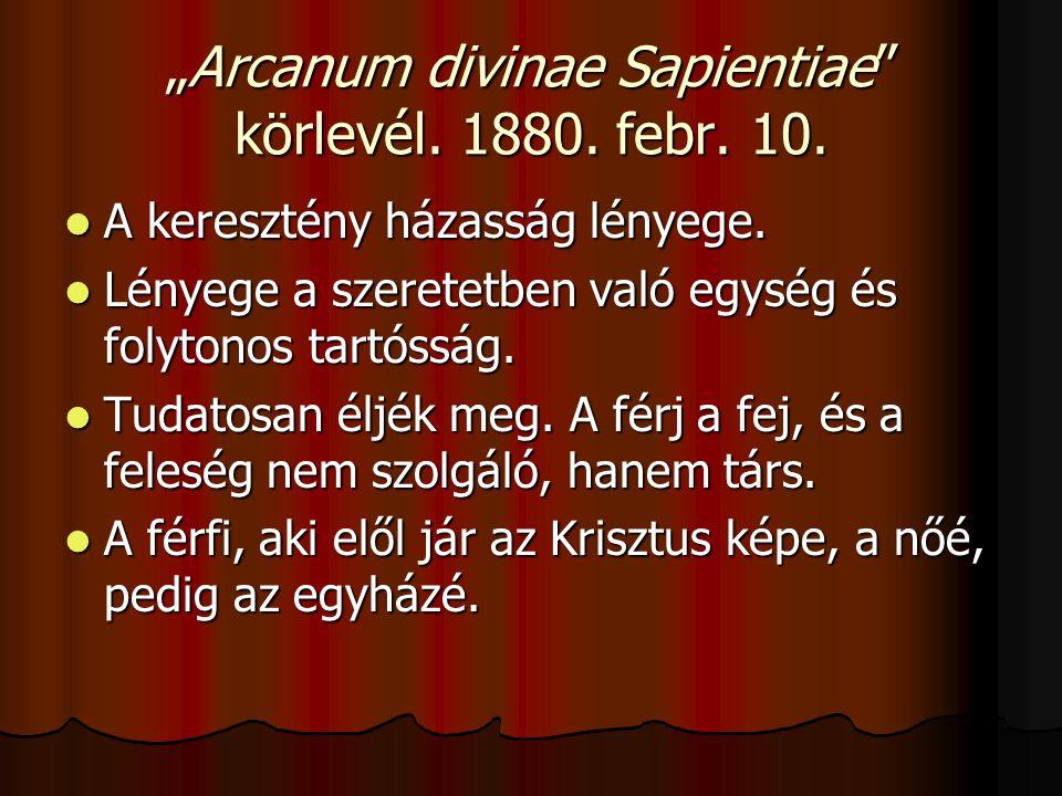 """""""Arcanum divinae Sapientiae körlevél. 1880. febr."""