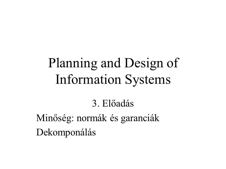 Planning and Design of Information Systems 3. Előadás Minőség: normák és garanciák Dekomponálás