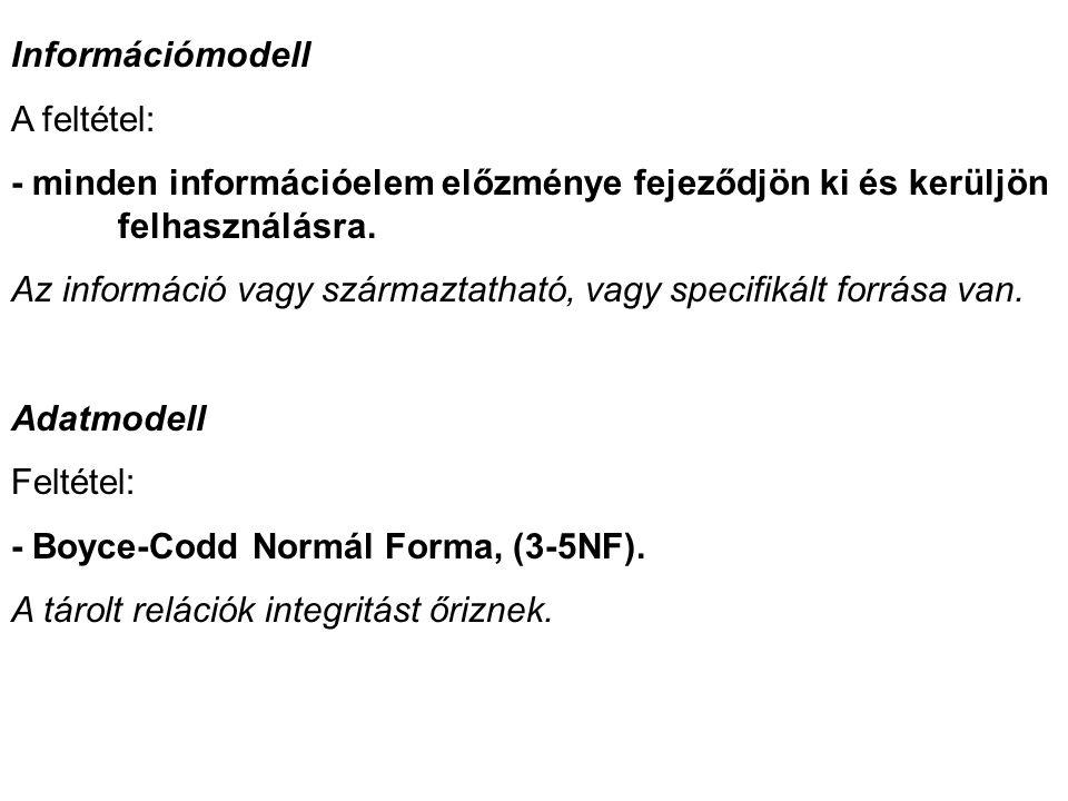 Információmodell A feltétel: - minden információelem előzménye fejeződjön ki és kerüljön felhasználásra.