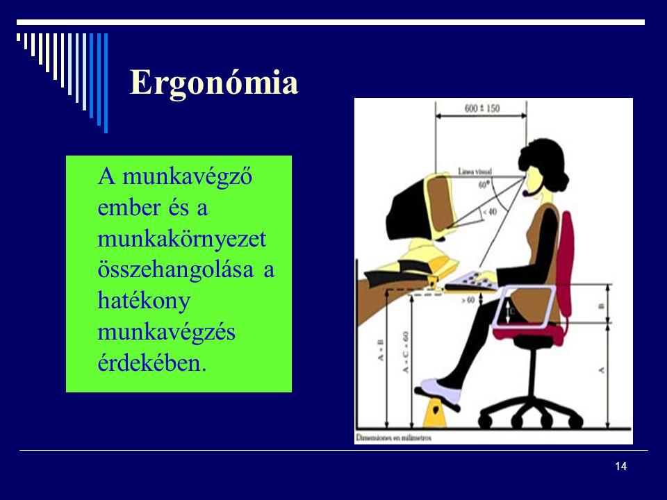 14 Ergonómia A munkavégző ember és a munkakörnyezet összehangolása a hatékony munkavégzés érdekében.