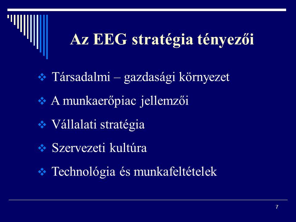 7 Az EEG stratégia tényezői  Társadalmi – gazdasági környezet  A munkaerőpiac jellemzői  Vállalati stratégia  Szervezeti kultúra  Technológia és