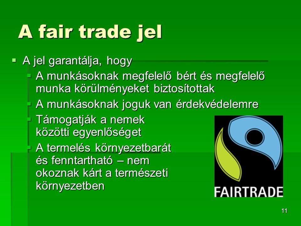 11 A fair trade jel  A jel garantálja, hogy  A munkásoknak megfelelő bért és megfelelő munka körülményeket biztosítottak  A munkásoknak joguk van é