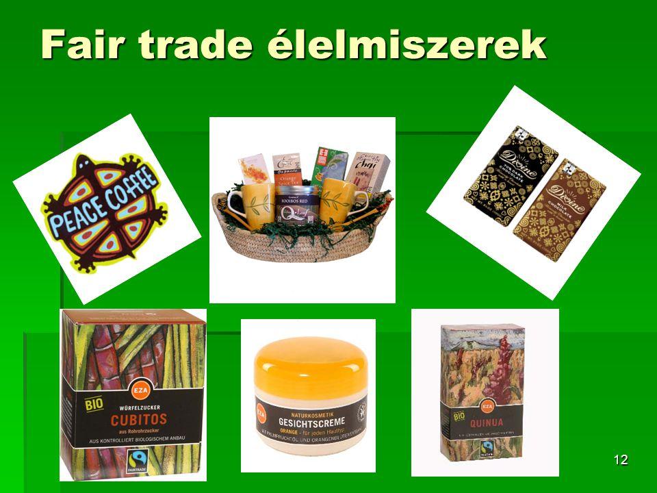 12 Fair trade élelmiszerek