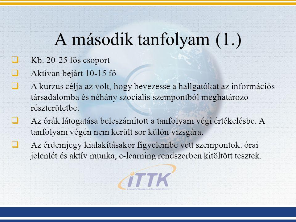 A második tanfolyam (1.)  Kb.