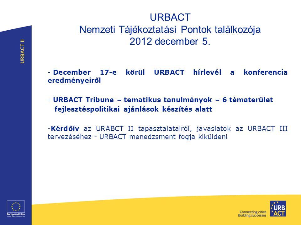 URBACT Nemzeti Tájékoztatási Pontok találkozója 2012 december 5.