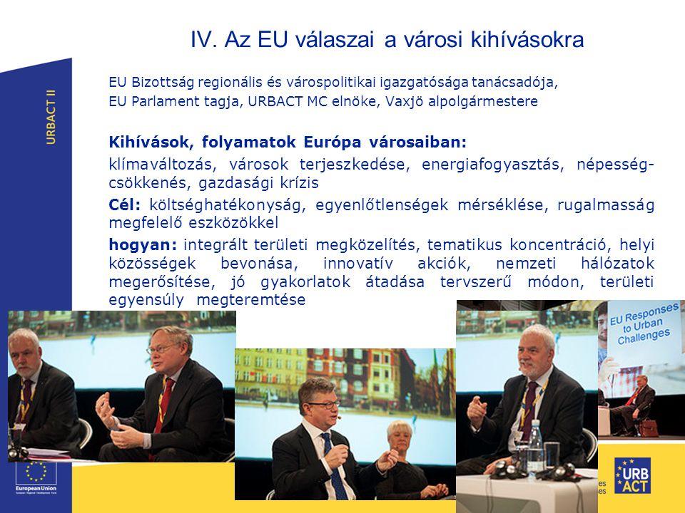 IV. Az EU válaszai a városi kihívásokra EU Bizottság regionális és várospolitikai igazgatósága tanácsadója, EU Parlament tagja, URBACT MC elnöke, Vaxj