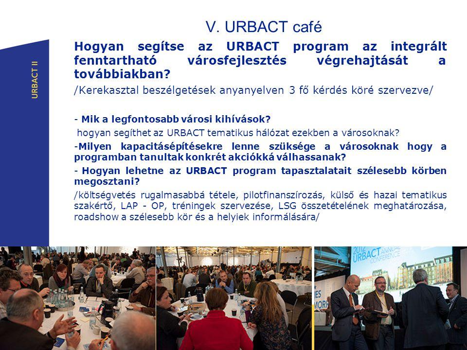 V. URBACT café Hogyan segítse az URBACT program az integrált fenntartható városfejlesztés végrehajtását a továbbiakban? /Kerekasztal beszélgetések any