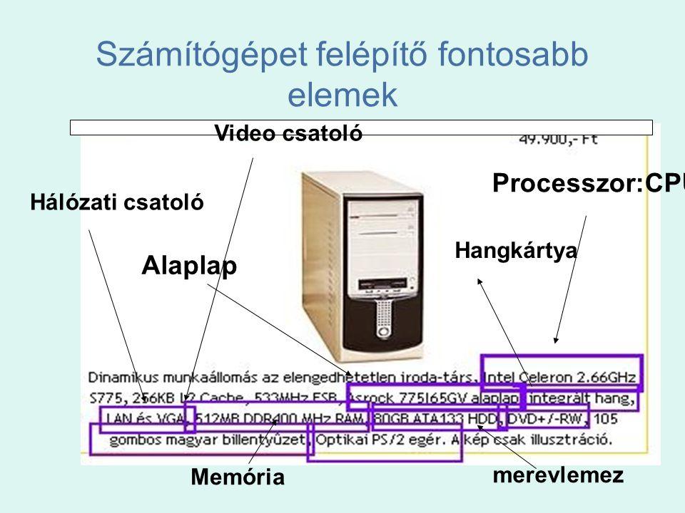 Számítógépet felépítő fontosabb elemek Processzor:CPU Alaplap Hangkártya Hálózati csatoló Video csatoló Memória merevlemez