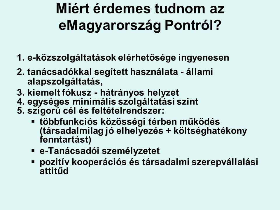 Az eMagyarország Pont szolgáltatásai (pl): 1.ügyfélszolgálat, 2.