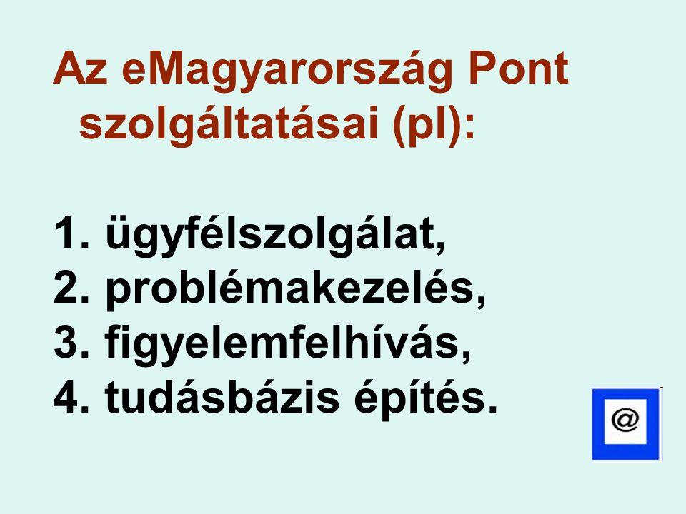 Az eMagyarország Pont szolgáltatásai (pl): 1. ügyfélszolgálat, 2. problémakezelés, 3. figyelemfelhívás, 4. tudásbázis építés.