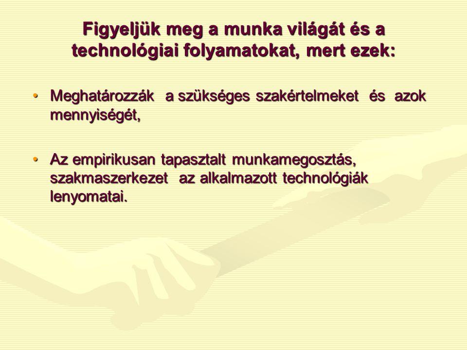 Figyeljük meg a munka világát és a technológiai folyamatokat, mert ezek: •Meghatározzák a szükséges szakértelmeket és azok mennyiségét, •Az empirikusa