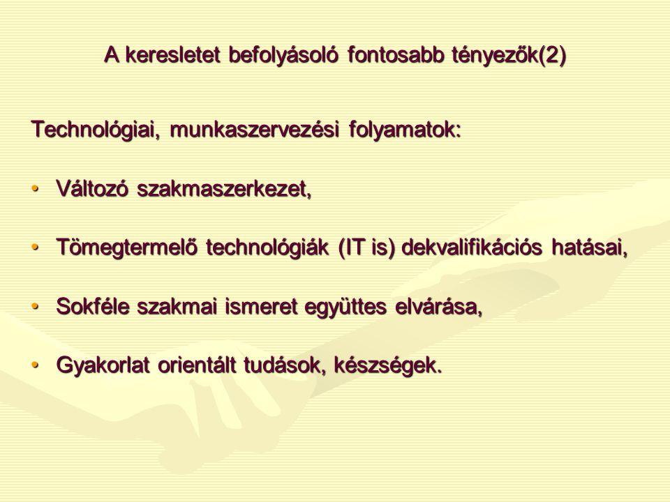 A keresletet befolyásoló fontosabb tényezők(2) Technológiai, munkaszervezési folyamatok: •Változó szakmaszerkezet, •Tömegtermelő technológiák (IT is)