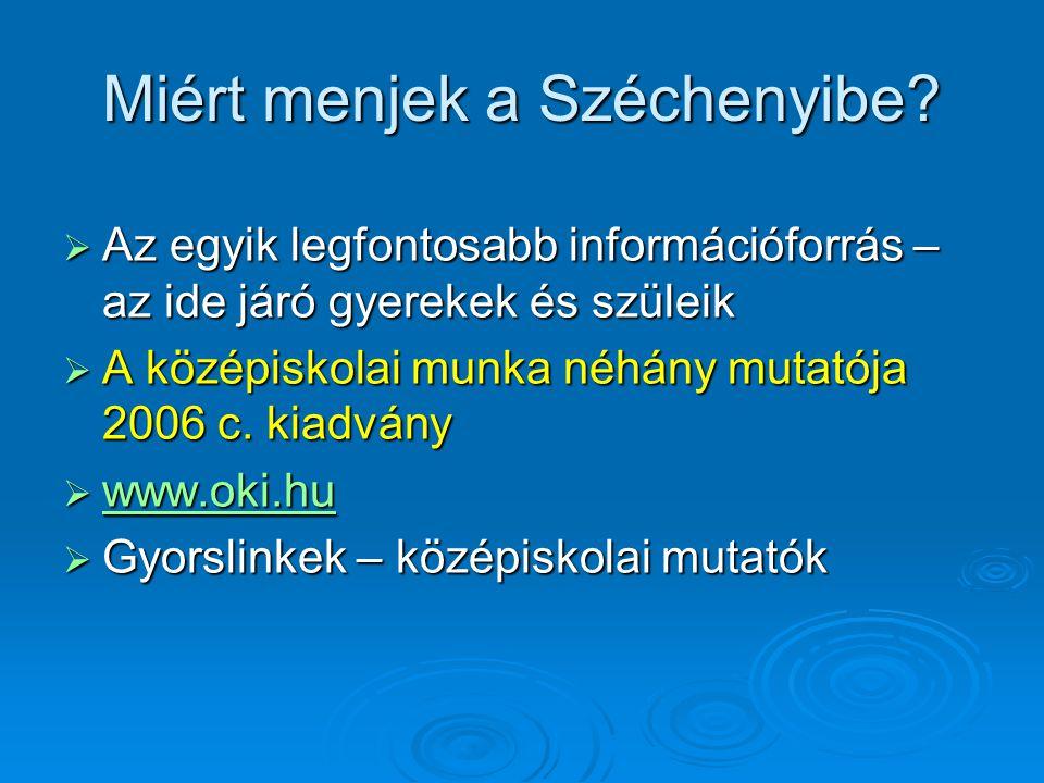Miért menjek a Széchenyibe?  Az egyik legfontosabb információforrás – az ide járó gyerekek és szüleik  A középiskolai munka néhány mutatója 2006 c.