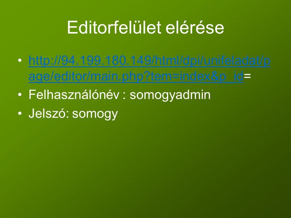 Editorfelület elérése •http://94.199.180.149/html/dpi/unifeladat/p age/editor/main.php?tem=index&p_id=http://94.199.180.149/html/dpi/unifeladat/p age/