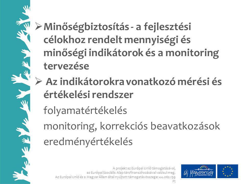  Minőségbiztosítás - a fejlesztési célokhoz rendelt mennyiségi és minőségi indikátorok és a monitoring tervezése  Az indikátorokra vonatkozó mérési