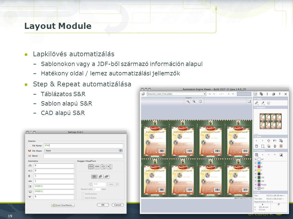 19 Layout Module ●Lapkilövés automatizálás –Sablonokon vagy a JDF-ből származó információn alapul –Hatékony oldal / lemez automatizálási jellemzők ●St