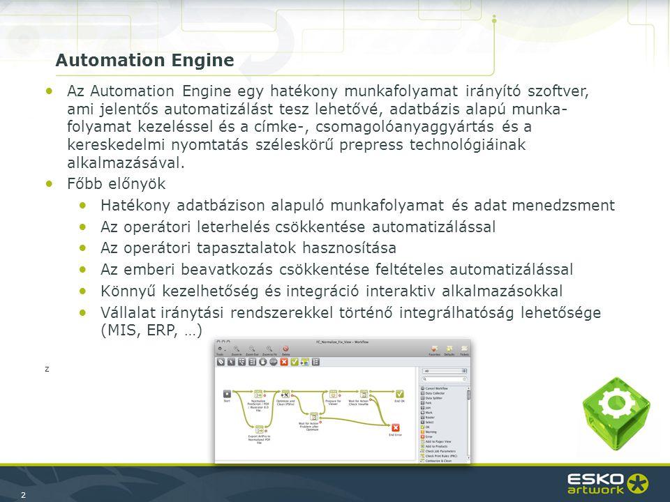 23 Automated Job Creation Module ●A FileMaker, MS Access vagy akár Excel alapú vállalat irányítási rendszereknél, amik tipikusan nem JDF működésűek, lehetővé teszi hogy automatikusan job-ot hozzanak létre az Automation Engine-ben, XML vagy egyéb fájl segítségével –Adminisztrativ információk (megrendelés szám, vevő, kapcsolat …) –Számos, felhasználó által meghatározható generikus paraméterek (pl.