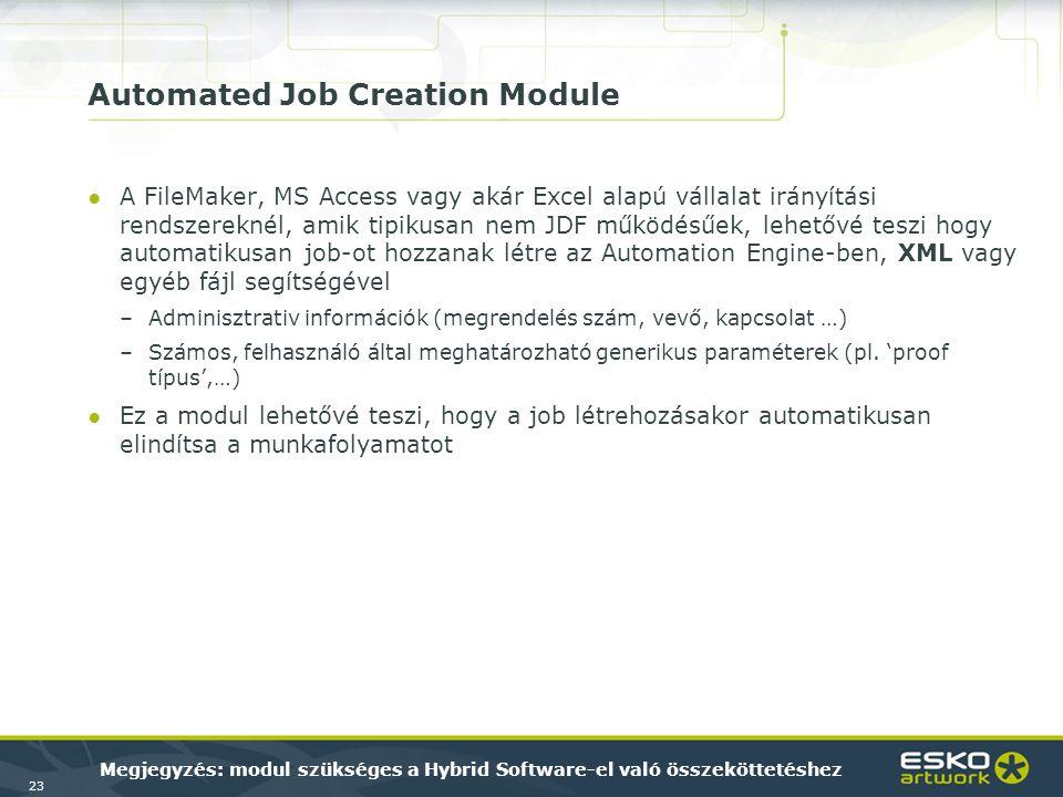 23 Automated Job Creation Module ●A FileMaker, MS Access vagy akár Excel alapú vállalat irányítási rendszereknél, amik tipikusan nem JDF működésűek, l