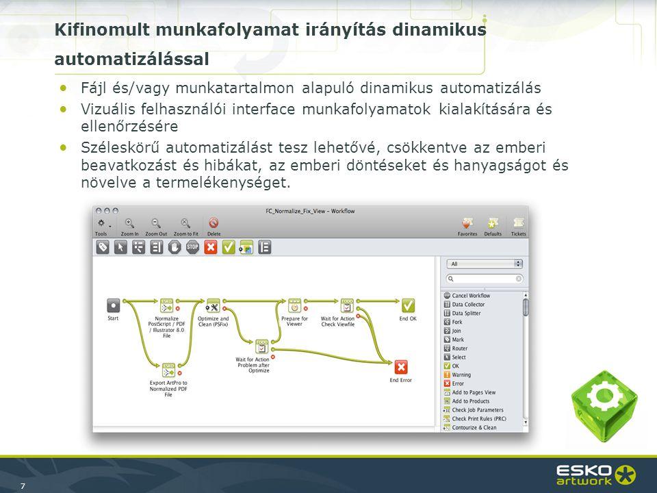 7 ●Fájl és/vagy munkatartalmon alapuló dinamikus automatizálás ●Vizuális felhasználói interface munkafolyamatok kialakítására és ellenőrzésére ●Széles