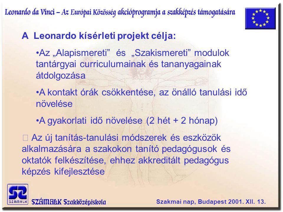 A Leonardo kísérleti projekt célja: Pilot kurzus indítása három hazai (Veszprémi Egyetem GMK, Bethlen Gábor Szakközépiskola, SZÁMALK Szakközépiskola és két külföldi partner intézményben (Anglia, Belgium) A kísérleti projekt eredményeinek folyamatos elterjesztése és felhasználása valamennyi AIFSZ képzést végző intézményben Szakmai nap, Budapest 2001.