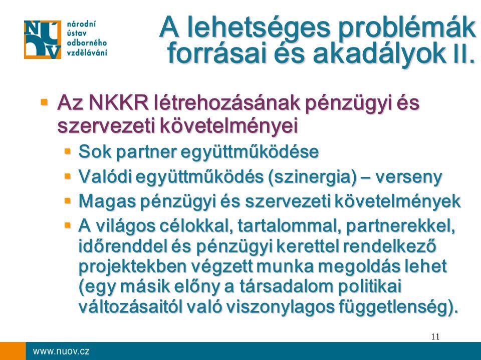 11  Az NKKR létrehozásának pénzügyi és szervezeti követelményei  Sok partner együttműködése  Valódi együttműködés (szinergia) – verseny  Magas pénzügyi és szervezeti követelmények  A világos célokkal, tartalommal, partnerekkel, időrenddel és pénzügyi kerettel rendelkező projektekben végzett munka megoldás lehet (egy másik előny a társadalom politikai változásaitól való viszonylagos függetlenség).
