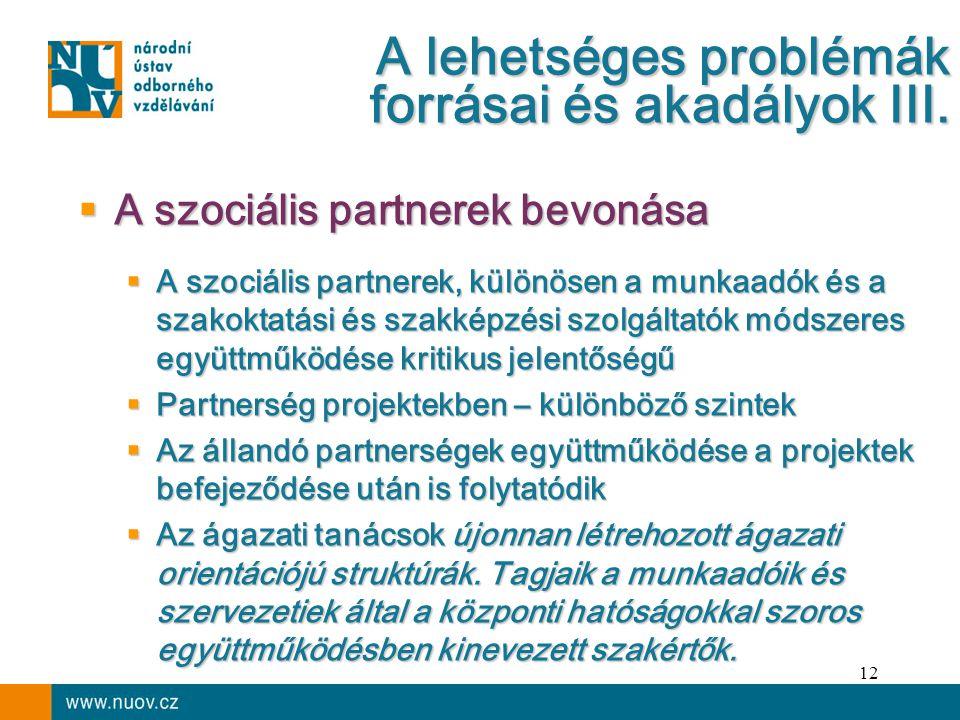12  A szociális partnerek bevonása  A szociális partnerek, különösen a munkaadók és a szakoktatási és szakképzési szolgáltatók módszeres együttműködése kritikus jelentőségű  Partnerség projektekben – különböző szintek  Az állandó partnerségek együttműködése a projektek befejeződése után is folytatódik  Az ágazati tanácsok újonnan létrehozott ágazati orientációjú struktúrák.