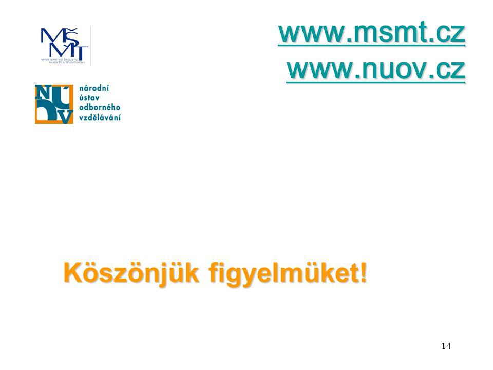 14 Köszönjük figyelmüket! www.msmt.cz www.nuov.cz www.msmt.cz www.nuov.cz