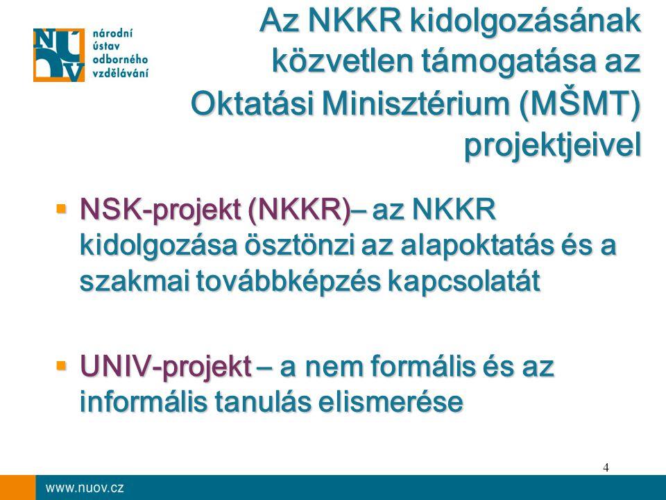 4  NSK-projekt (NKKR)– az NKKR kidolgozása ösztönzi az alapoktatás és a szakmai továbbképzés kapcsolatát  UNIV-projekt – a nem formális és az informális tanulás elismerése Az NKKR kidolgozásának közvetlen támogatása az Oktatási Minisztérium (MŠMT) projektjeivel