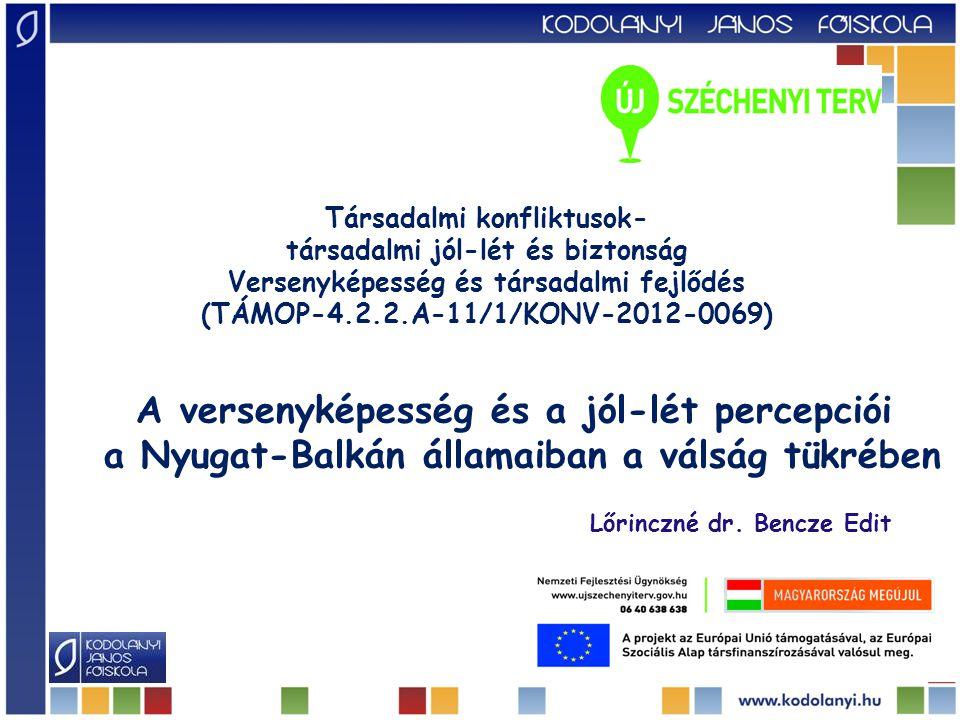 Társadalmi konfliktusok- társadalmi jól-lét és biztonság Versenyképesség és társadalmi fejlődés (TÁMOP-4.2.2.A-11/1/KONV-2012-0069) A versenyképesség és a jól-lét percepciói a Nyugat-Balkán államaiban a válság tükrében Lőrinczné dr.