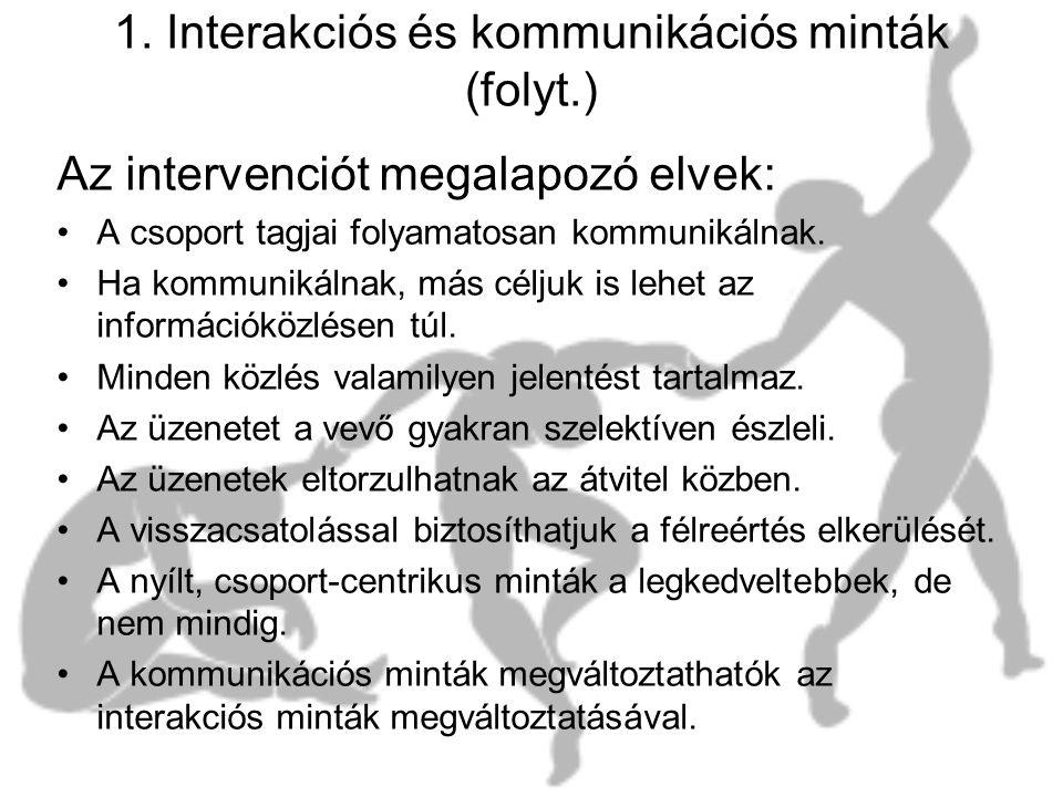1. Interakciós és kommunikációs minták (folyt.) Az intervenciót megalapozó elvek: •A csoport tagjai folyamatosan kommunikálnak. •Ha kommunikálnak, más