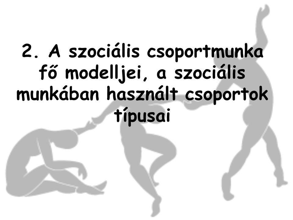 A csoportmunka modelljei 1.Társadalmi akció modell (a környezetnek a csoport érdekeinek megfelelő befolyásolása, érdekérvényesítés) 2.Terápiás segítségnyújtás (személyes problémában nyújt segítséget) 3.Kölcsönös segítségnyújtás és védelem (önsegítő és érdekvédelmi csoportok) 4.Fejlődésmodell (a három modell integrációja)