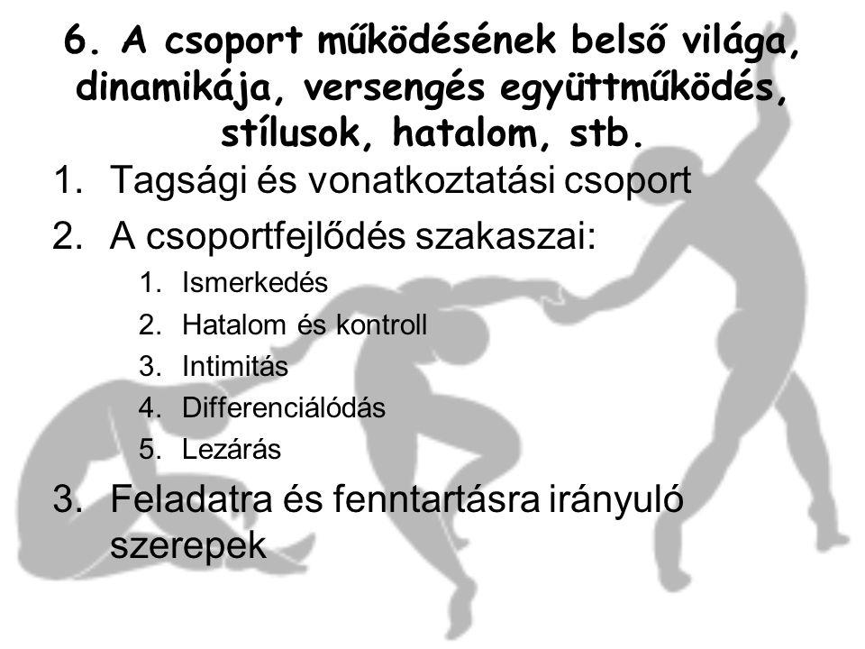 6. A csoport működésének belső világa, dinamikája, versengés együttműködés, stílusok, hatalom, stb. 1.Tagsági és vonatkoztatási csoport 2.A csoportfej