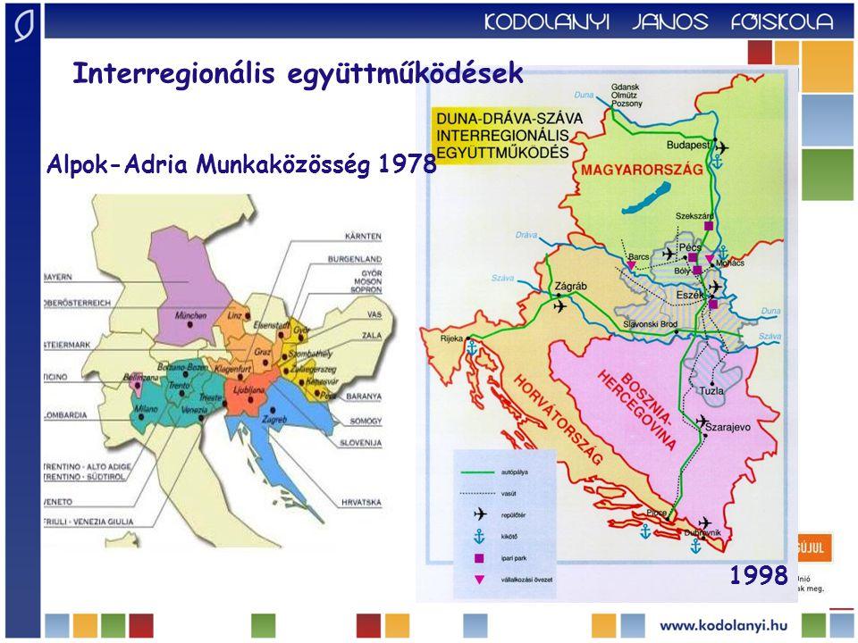 Interregionális együttműködések 1998 Alpok-Adria Munkaközösség 1978