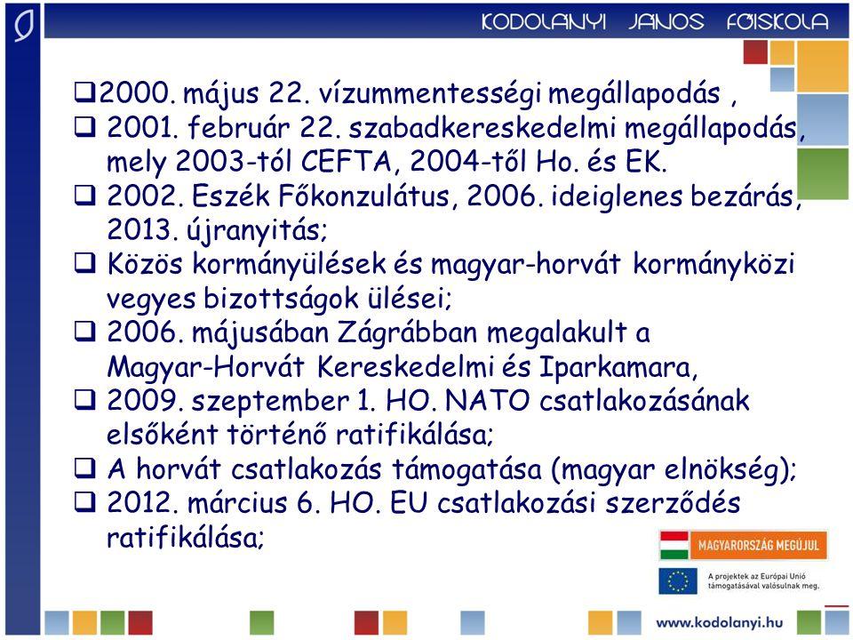 Gazdasági kapcsolatok  Lassan induló kereskedelmi kapcsolatok (háború, termékek hasonló struktúrája),  Horvátország az idegenforgalomban nagy exportőr – Magyarország a vendégéjszakák tekintetében a 9.