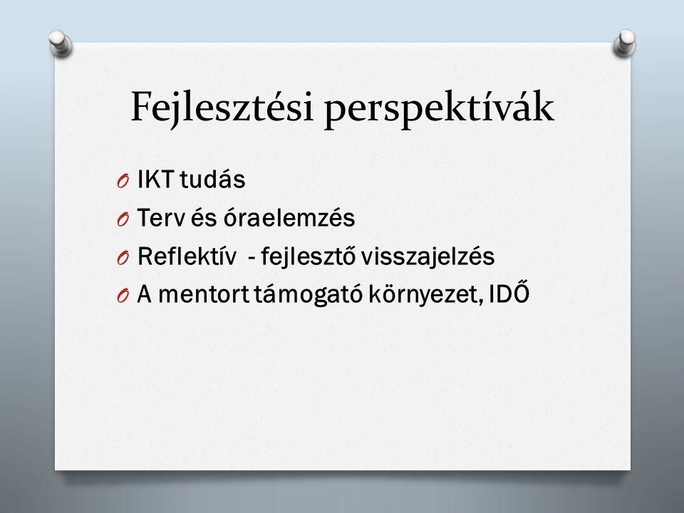 Fejlesztési perspektívák O IKT tudás O Terv és óraelemzés O Reflektív - fejlesztő visszajelzés O A mentort támogató környezet, IDŐ