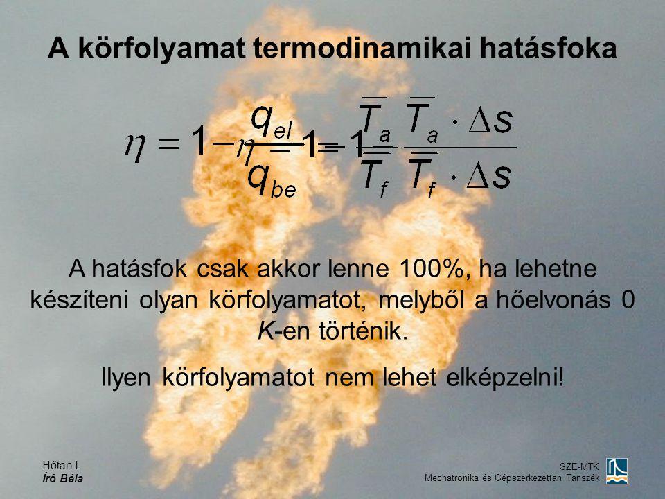 Hőtan I. Író Béla SZE-MTK Mechatronika és Gépszerkezettan Tanszék A körfolyamat termodinamikai hatásfoka A hatásfok csak akkor lenne 100%, ha lehetne
