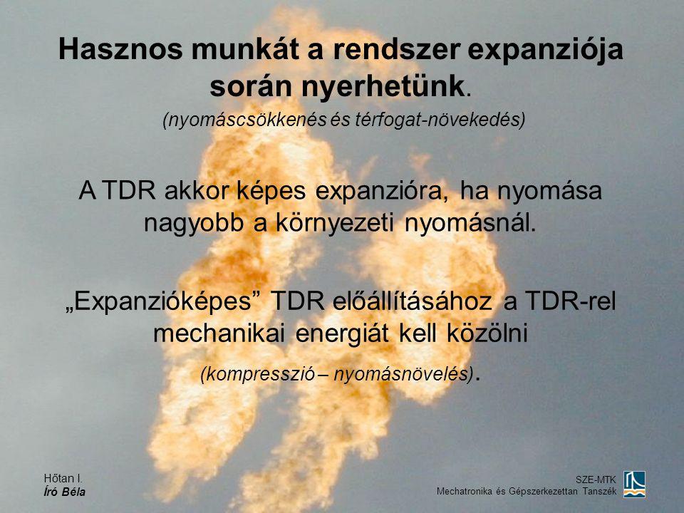 Hőtan I. Író Béla SZE-MTK Mechatronika és Gépszerkezettan Tanszék Hasznos munkát a rendszer expanziója során nyerhetünk. (nyomáscsökkenés és térfogat-