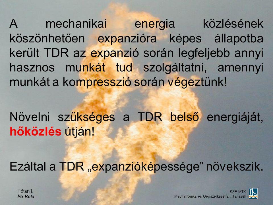 Hőtan I. Író Béla SZE-MTK Mechatronika és Gépszerkezettan Tanszék A mechanikai energia közlésének köszönhetően expanzióra képes állapotba került TDR a